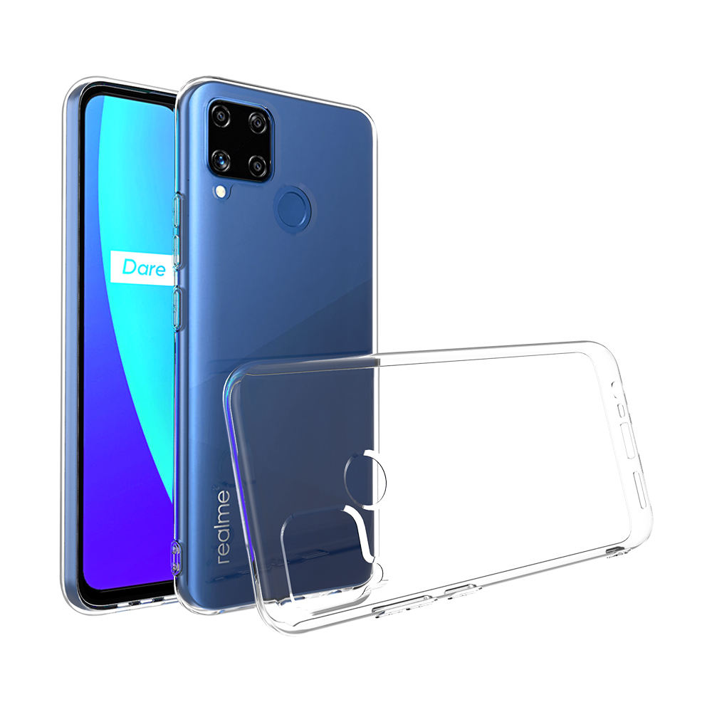 New product Anti-fall 2.0mm Crystal TPU Transparent Mobile Phone Case Back Cover For Realme C12