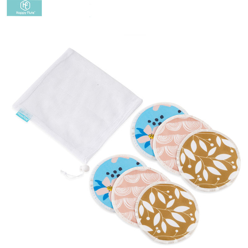Happy Flute 3 Pairs Reusable Waterproof Mom Breast Pads Nursing Pads with Washing Bag