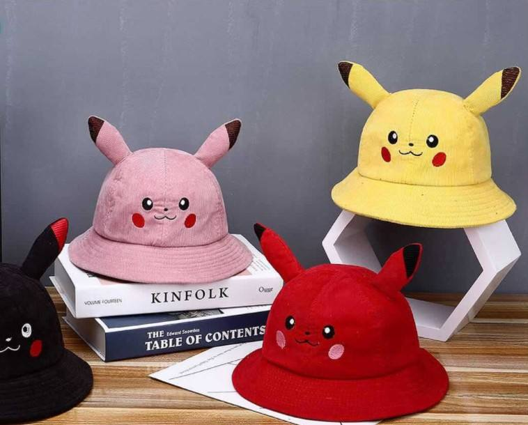 Cartoon embroidery fisherman hat children autumn and winter thick corduroy basin hat Pikachu children Kids Baseball cap hat