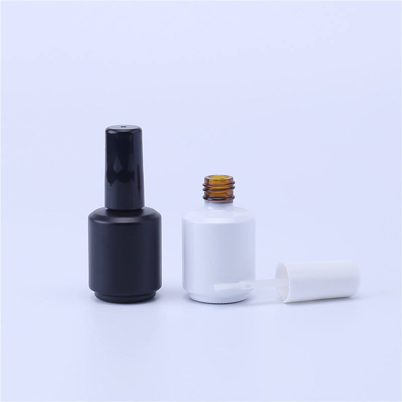 15ml Black White Empty Gel Nail Polish Glass Bottle with Brush for Manicure Oil