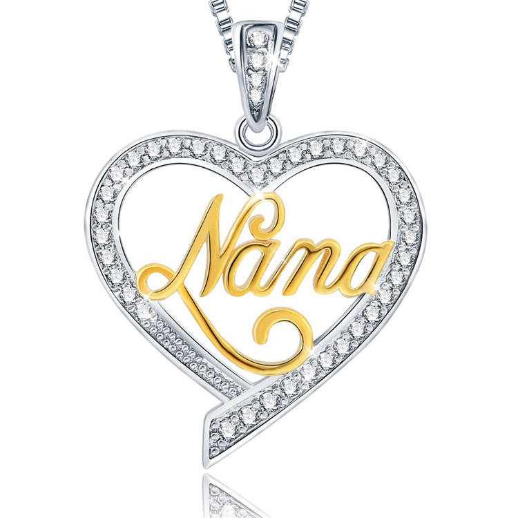 Personalized 2021 Mother's Day Gift S925 Rose Gold Heart Shape Pendant Mama Necklace