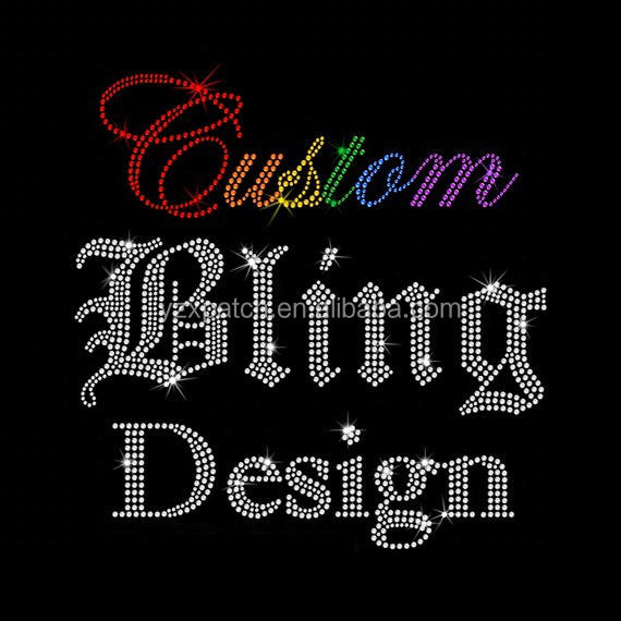 Custom your own rhinestone design low minimum wholesale rhinestone transfers for hoodies and t shirts