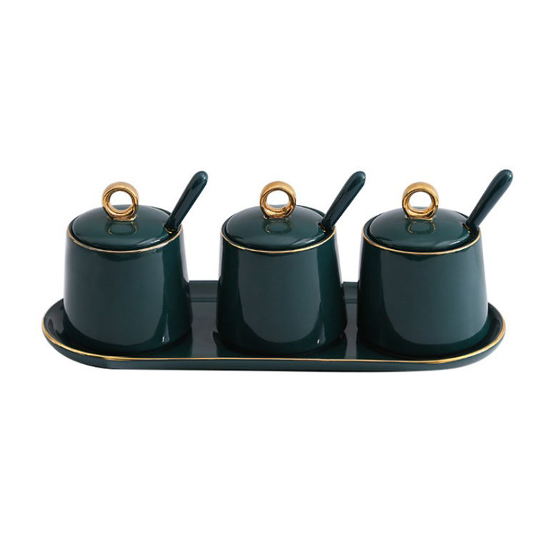 Luxury Kitchen seasoning pot set glazed green gold ceramic MSG salt seasoning box gift wholesale