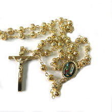 Komi 2020  Hot Sell Rosary 6mm Hollowing out metal Necklaces Religious Rosary Jesuss cross Maria medal Necklace