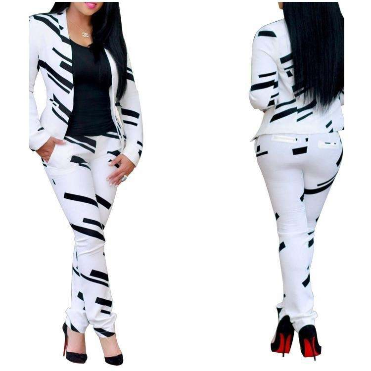 2019 Women Clothes White And Black Print Blazer And Pants Women Office Clothing