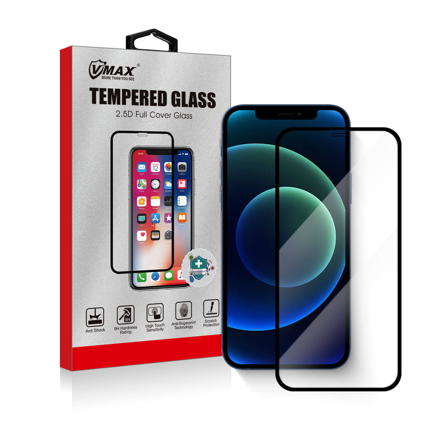 For iPhone 12 5.4 6.1 6.7 bubble free 9h 2.5d silkprint tempered glass screen protector film