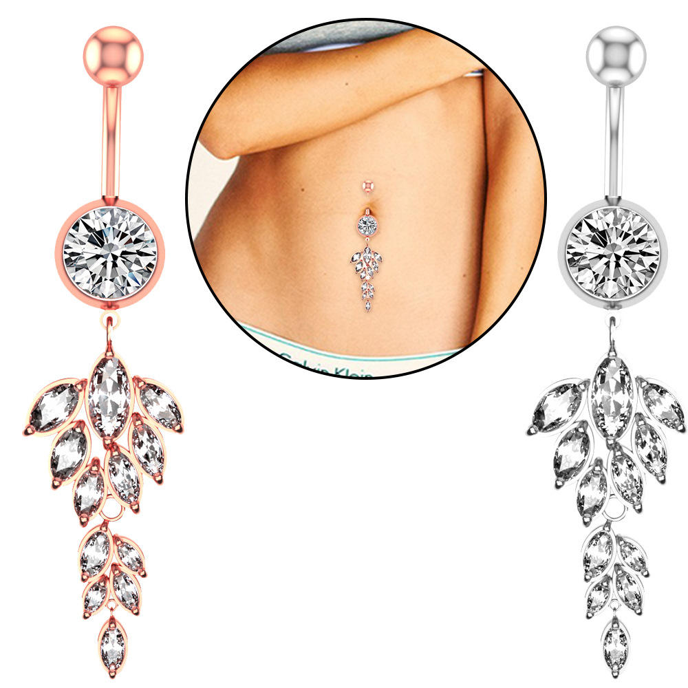 2020 European and American New Style Inlay Leaf Horse Eye Zircon Belly Button Body Jewelry