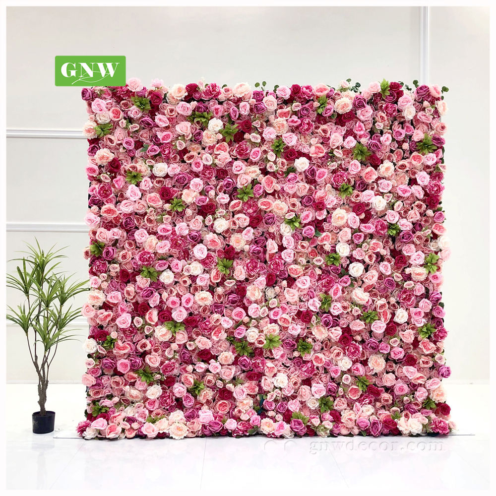 GNW Romantic artificial flowers wall for photographic backgrounds wedding background decoration