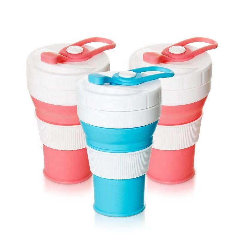Silicone Collapsible Travel Cup Folding Silicone Coffee Cup Portable Drinking Mug with Lid Water Coffee Coca Cola and Snack
