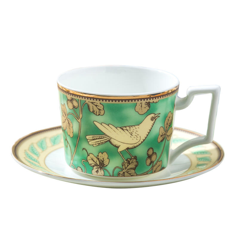 Wholesale high quality hand printed gold bird cup and saucer fine bone china coffee tea cup plate set