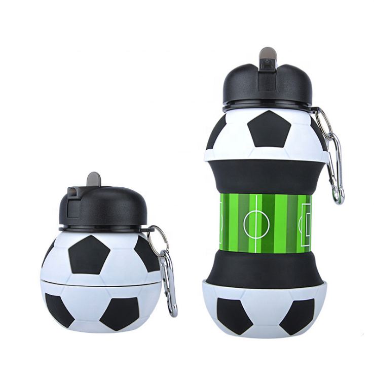 sport cusmomized logo outdoor promotional gift bpa free food grade american football collapsible Foldable silicone water bottle