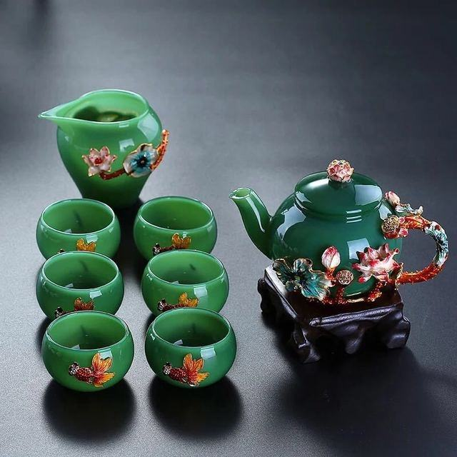 wholesale gift box White jade porcelain tea set enamel teapot cup tea set glass flower teapot