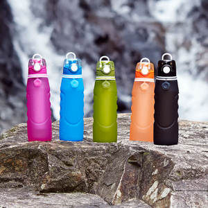 Hot Bottle Products Eco-Friendly Reusable Silicone Purifier Filter Collasable Water Bottle For Kids