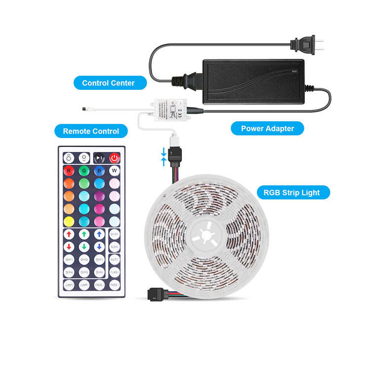 12v dc IP65 Waterproof Non-Waterproof LED Strip 5M/Roll 60 leds/Meter SMD 5050 RGB led strip light Sets 44Keys Remote Control