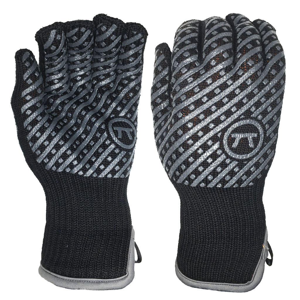 Heat Flame Resistant Aramid Shell Cotton Liner Cuff Open Both Sides Silicone Pattern BBQ Grill Gloves