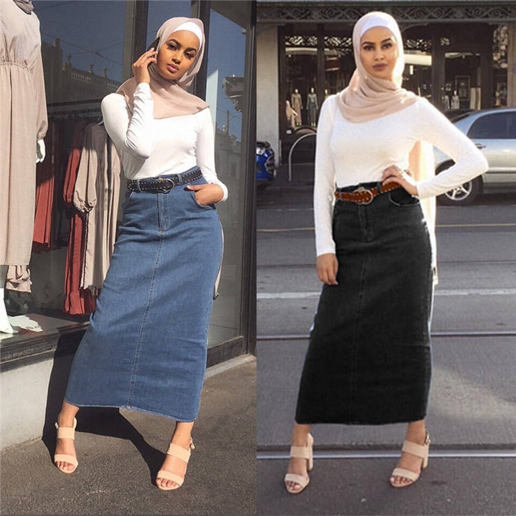 2019 islamic indian demin long skirt for arab women