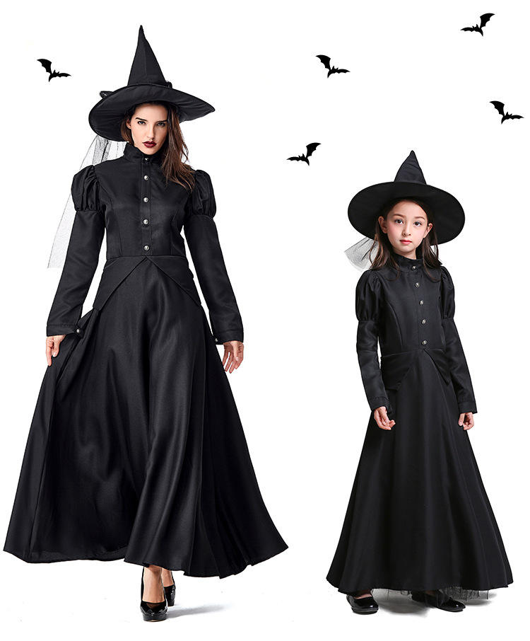 Halloween Fancy Dress Costume Role-Playing Cosplay Show Cute Girl Kids Black Witch Costume