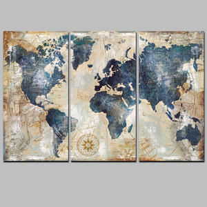 Home Decor Painting Calligraphy World Map Picture Waterproof Canvas HD Print 3pcs Design Art