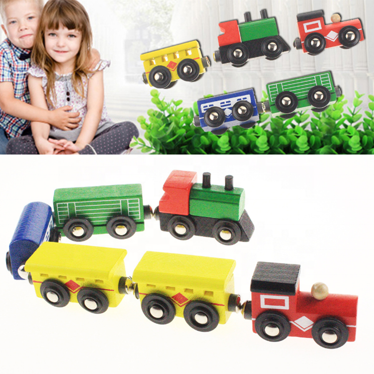 Valentine's Day decoration wooden car children's puzzle assembled building blocks drag train toy