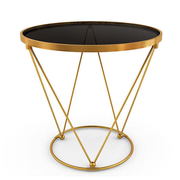 Modern living room table Golden Stainless steel base Round tempered glass Top Metal Fram End Table for living room furniture