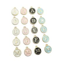 Colorful Oil Drop Round 12*15MM  Initial Letter Charms Enamel Metal Alphabet Pendant For DIY Necklace Jewelry