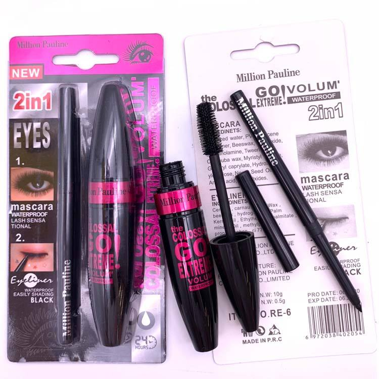 Set Makeup Wholesale Waterproof Long Lasting Makeup Set Thick Curling Mascara Quick Dry Eyeliner Pen 2 In 1 OEM