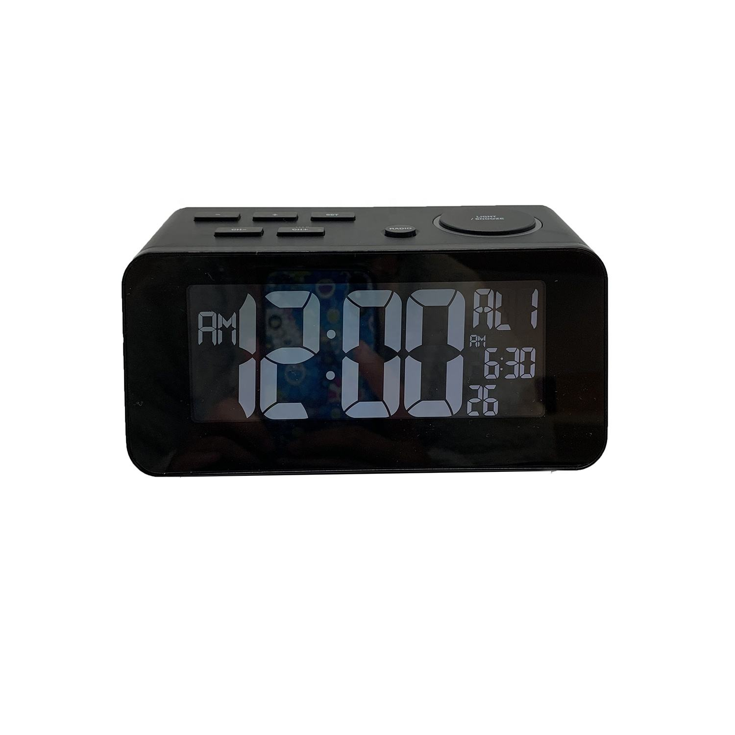 LCD com display de temperatura de carregamento USB rádio despertador Digital Desktop Despertador Rádio <span class=keywords><strong>FM</strong></span>