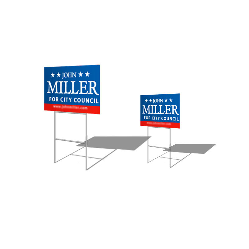Custom Waterproof plastic blank corrugated lawn yard signs election with stakes