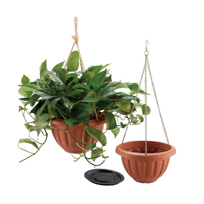 Hanging flower pot wall mounted round terracotta plant holder