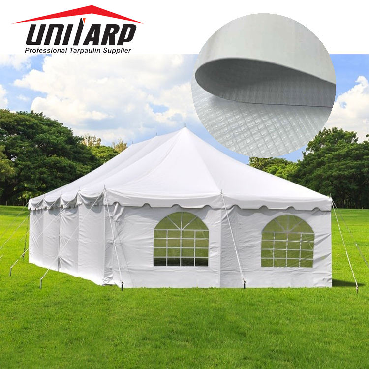 Anti-UV Blackout 1000*1000D 9*9 550GSM PVC Vinyl Tarpaulin Outdoor Tent Fabrics for Wedding and Events