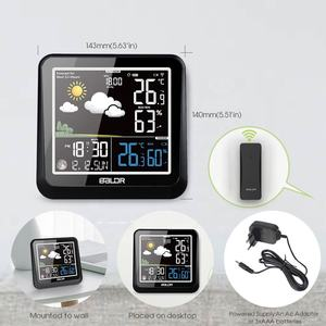 BALDR B0336 Digital Color Wireless Weather Station Barometer Weather Forecast Table Clock Moon Phase Wetterstation Wall Clock