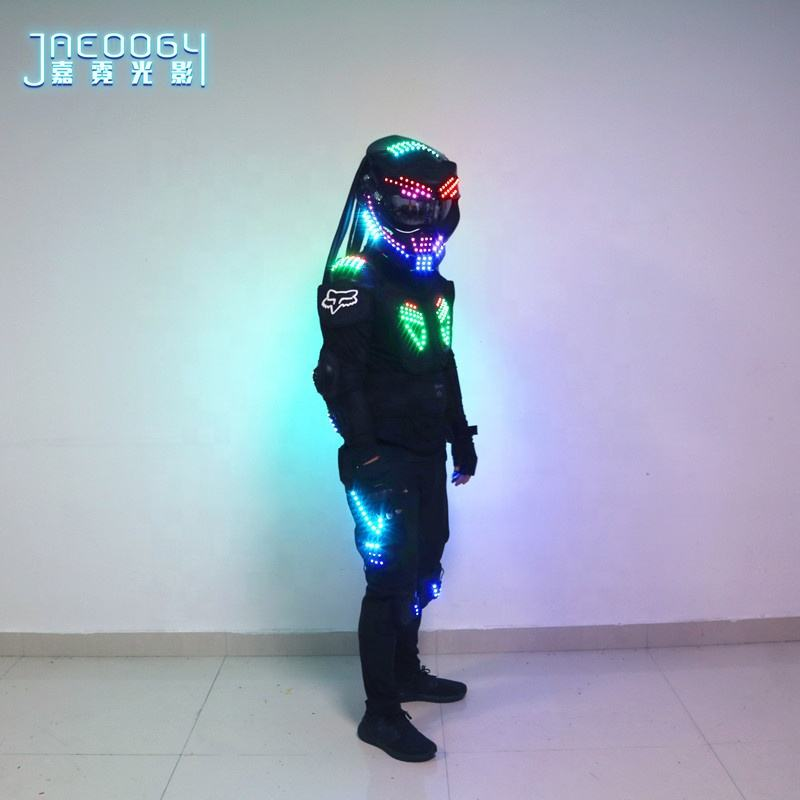 LED glowing robot costume nightclub stage performance fluorescent props predator RGB lighting helmet Halloween glowing clothes