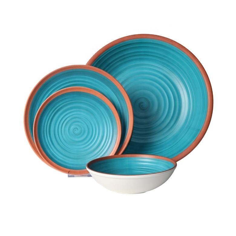 Luxury fine China eco friendly OEM melamine wholesale housewares green unique restaurant dinnerware elegance dinner set