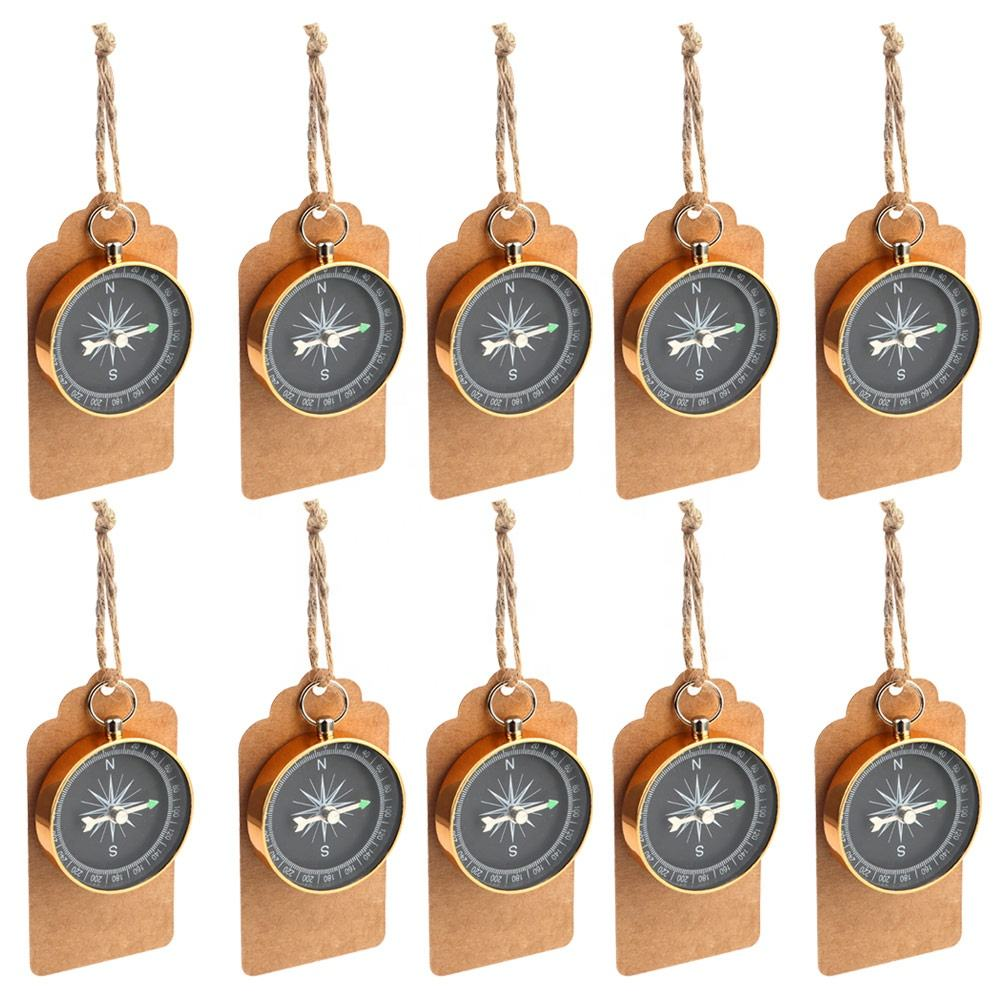 Ourwarm 10Pcs Kompas Bruiloft Gunsten Voor Gasten Met Kraft Tags Reizen Thema Party Wedding Souvenir Party Gunsten Decoraties