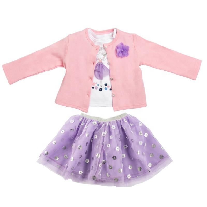 Baby boutique girl clothing sets 3 pcs 100% cotton baby sets girls dress sets