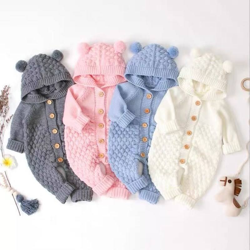 Baby Rompers Knitted Cartoon Bear Newborn Jumpsuits Long Sleeve Toddler Girlboy Sweaters Clothes Children Overalls Winter