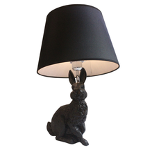 Amazon 2019 Wholesale Factory Animal Rabbit Desk Lamp Shade Resin Black Kids Bedroom Table Lamps Modern Home Decor Lamparas