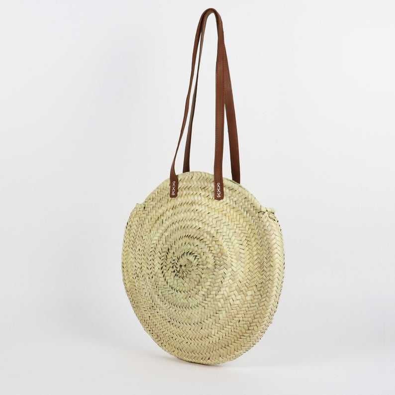 Straw Bag with Leather Straps