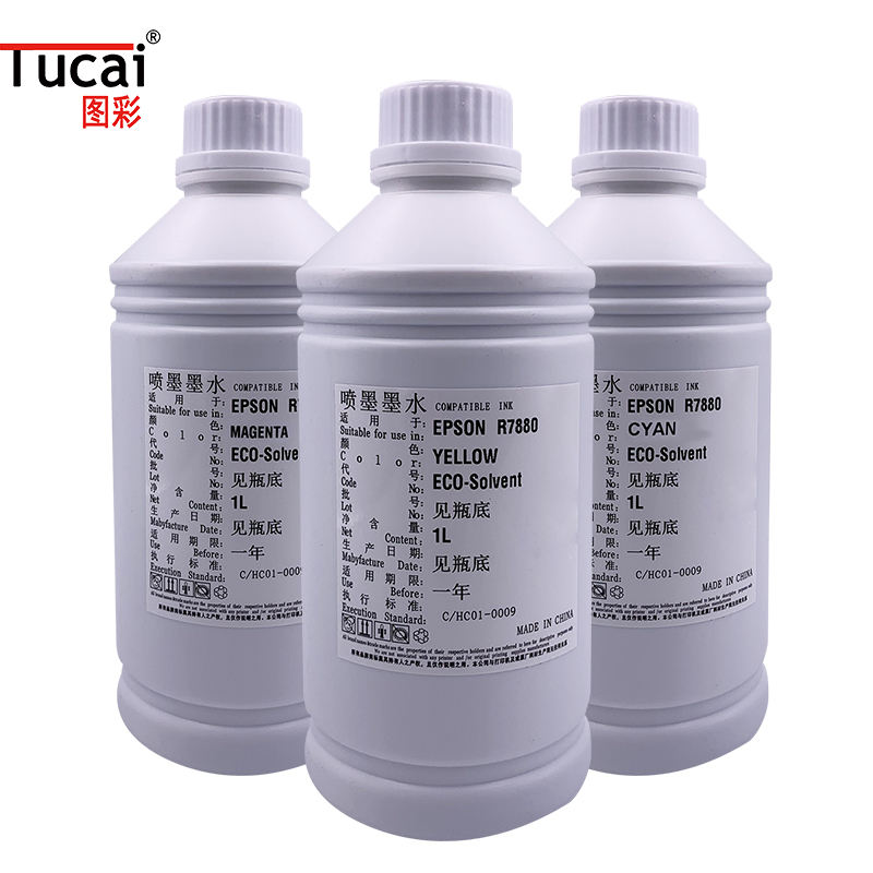 Indoor outdoor Eco solvent ink for Epson DX5/DX7 head Large Format Digital PVC Printing Machine CMYK