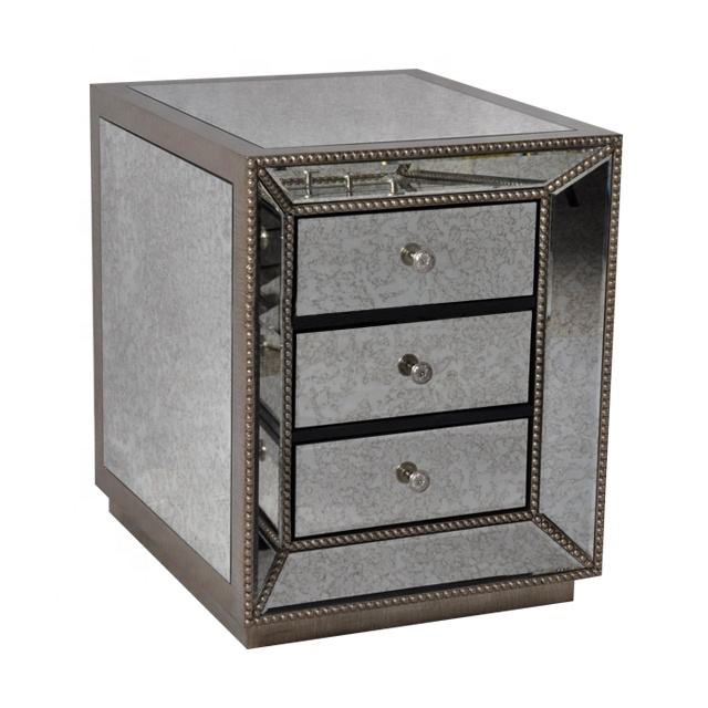 Antique Style Vintage Luxury 3 Drawers Antique Gold Beading Mirror End Tables Bedside Nightstand mirrored