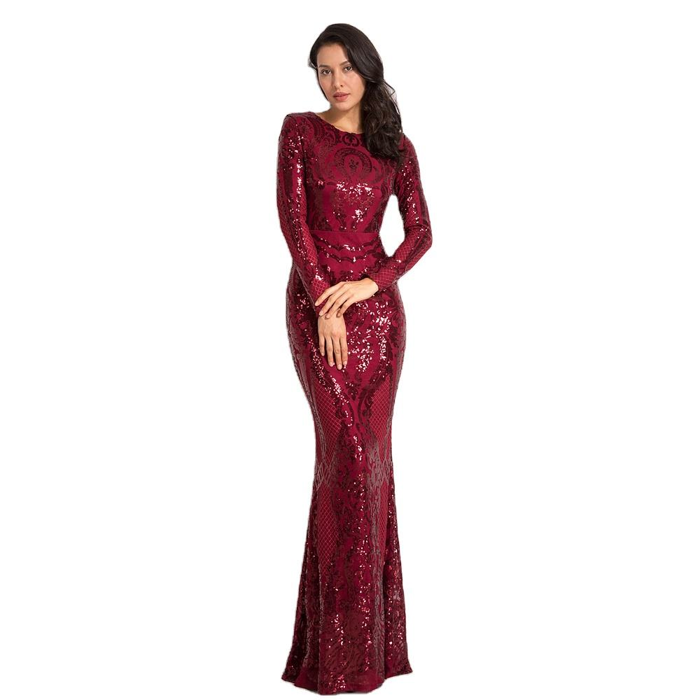 NEW Burgundy O Neck Full Lining Bodycon Formal Dress Stretch Sequin Long Sleeve Party Evening Night Prom Dress