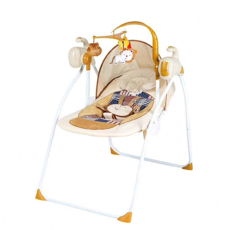 Foldable automatic babycrib infant swing bed baby shaking cradle with charge remote control and mosquito net