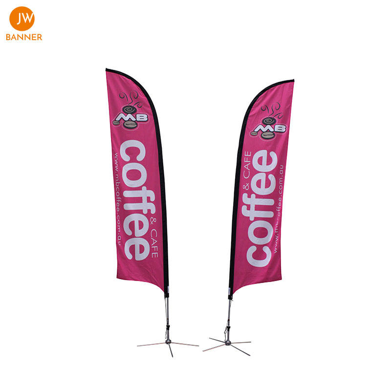 Wuhan JW Advertising double sided teardrop banner material beach feather flag