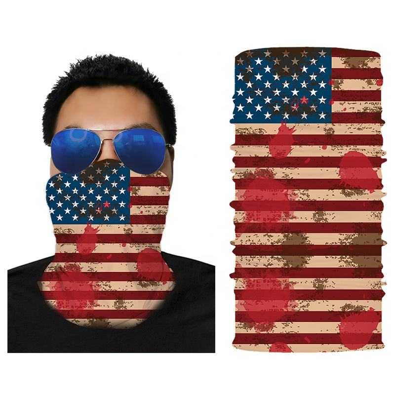 10Pcs Bandanas 100% Polyester US Flag Print Head Wrap Scarf Wristband For Sale