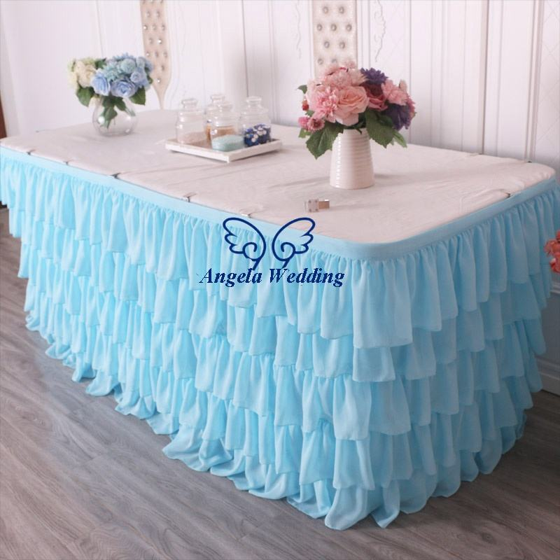 SK008D new different custom made Wedding five tiered pleated ruffled light blue chiffon table skirt