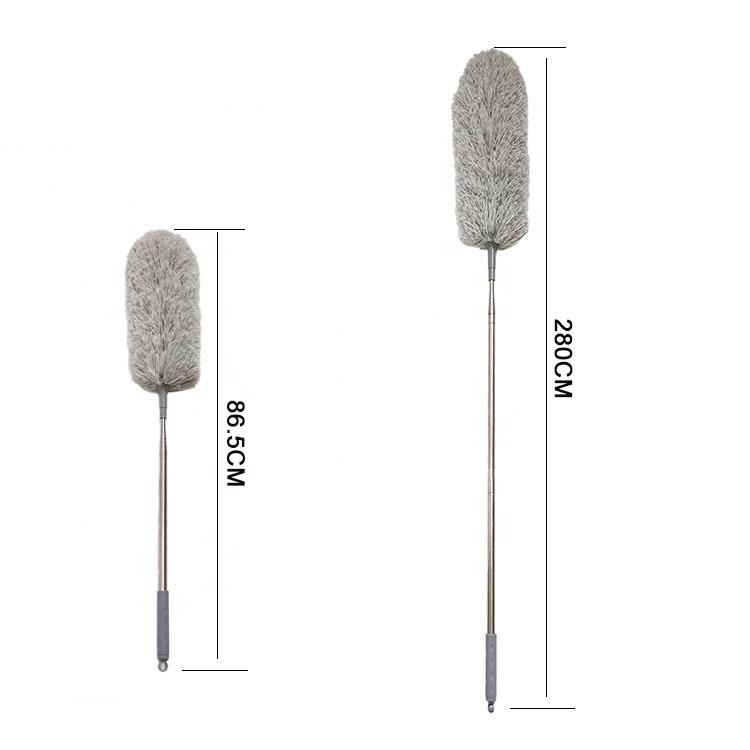 2.8m Telescopic Handle with Bendable Head Washable 110 inches Microfiber Extendable superfine Fluffy duster