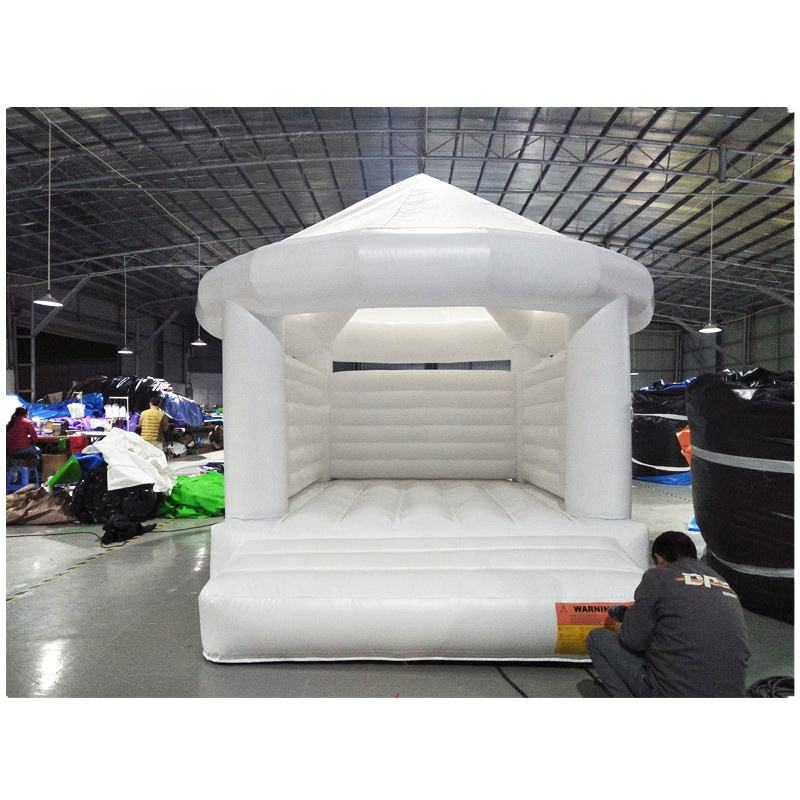 0.55mm PVC tarpaulin White Inflatable Bounce House Bouncy Castle For Wedding.