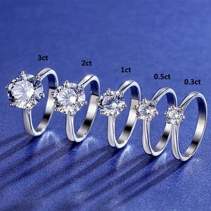 0.3ct 0.5ct 1ct 2ct 3ct Classic six claw 925 Sterling Silver moissanite diamond ring
