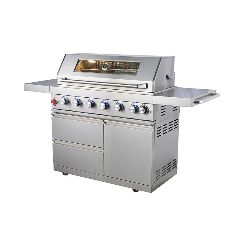 China Manufacturer European Outdoor Kitchen Commercial Stainless Steel Chicken Roast BBQ Gas Grill Barbecue Grill