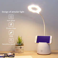 Flexible Neck LED Desk lamp 3 Level of Brightness with Pen holder pencil cup for Home Office Dorm